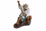 Figurine, Man Fishing, 8cm, White